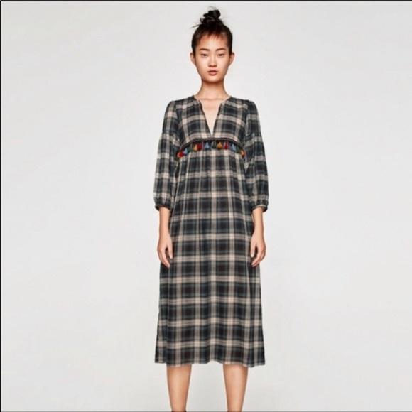 28b2fc1e Zara Dresses | New Green Black Plaid Tassel Dress | Poshmark